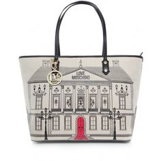 Women's Moschino Accessories Large House Canvas Shopper Bag ($290) ❤ liked on Polyvore