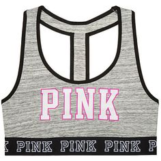 PINK Strappy Back Cotton Crop ($29) ❤ liked on Polyvore featuring tops, t-shirts, cotton t shirt, pink crop top, logo t shirts, white crop top and strappy crop top