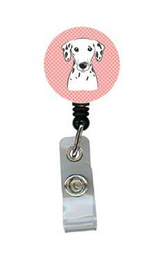 Checkerboard Pink Dalmatian Retractable Badge Reel BB1210BR