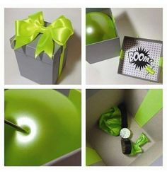 Another creative way to present a gift . My husband would loove the green baloon.