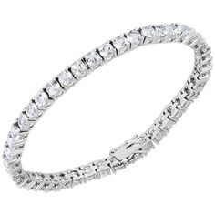 Lord & Taylor Cubic Zirconia and Sterling Silver Line Bracelet (465 RON) ❤ liked on Polyvore featuring jewelry, bracelets, silver, sterling silver cz jewelry, sterling silver bangles, cz jewelry, sterling silver jewellery and lord taylor jewelry