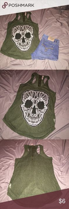 🔴4 FOR $10🔴XHILARATION RAZORBACK TANK S CUTE RAZORBACK SKELETON RAZORBACK TANK TOP.  IN EXCELLENT CONDITION.  💖GREAT DEALS AND HUGE SALE!  EVERYTHING $10 AND UNDER IS 4 FOR $10.  EVERYTHING $20 AND UNDER IS 3 FOR $20.  PLEASE FEEL FREE TO ASK QUESTIONS. 💖 Forever 21 Tops Tank Tops