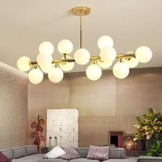 Fandian Post-Modern Chandelier 16 Round Glasses LED Ceiling Light Pendant, DNA Shape with LED Bulbs (Bright Gold Lampshade)) Glass Chandelier, Modern Chandelier, Chandelier Lighting, G4 Led, Post Modern, Led Ceiling Lights, Postmodernism, Light Pendant, Dna