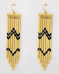 Southwestern Sunset Gold and Black Statement Earrings-$28-Find hot fashion jewellery and statement jewlry at Strike Envy. #jewellery #jewlry