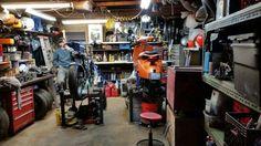 Barn Garage, Man Cave Garage, Garage Workshop, Motorcycle Workshop, Motorcycle Shop, Bike Lift, Bike Builder, Bike Tools, Bike Poster