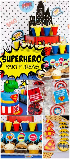 Check out this awesome superhero boy birthday party! See more party ideas at CatchMyParty.com!