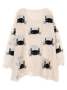 Shop Beige Destroyed Cat Graphic Sweater from choies.com .Free shipping Worldwide.