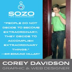 We want everyone to get to know our SOZO Team, so each week we will highlight a member of our SOZO Team! Corey Davidson is our Graphic and Web Designer who loves his SOZO Thermogenic Coffee twice a day, straight up - no extra sugar, nothing! Since Corey starting drinking the Thermogenic Coffee he has lost 15 pounds! #SOZOLife