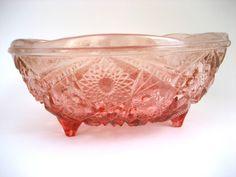 Vintage Heavy Pressed Glass Bowl in Amberina by BelleBloomVintage