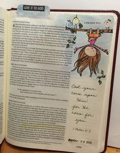 "Bible art journaling by Lynda Neal - ""Cast your cares on Him for He cares for you"" (1 Peter 5:7). #illustratedfaith"