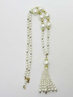 JEWELRY: Christian Dior Vintage Pearl Tassel Runway Necklace, Sautoir | MALLERIES