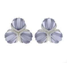 """A pair of carved chalcedony and diamond """"Triple Fan"""" earclips, Valentin Magro  signed Valentin Magro; mounted in eighteen karat white gold"""