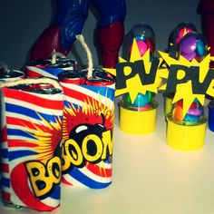 Decoração - Festa Liga da Justiça - Super Heróis - tubetes - bomba de baton