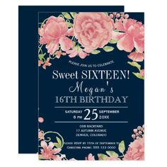 Chic floral blush peonies on navy sweet sixteen card