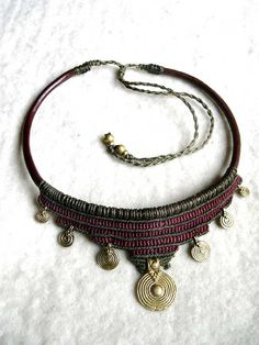 Brass Spiral Tribal Necklace Macrame Brown Olivegreen, Choker Collier Collar Leather Makramee Goa Gypsy boho Ethno Made to Order Collar Macrame, Macrame Colar, Macrame Necklace, Tribal Necklace, Macrame Jewelry, Tribal Jewelry, Bohemian Jewelry, Bohemian Necklace, Garnet Jewelry
