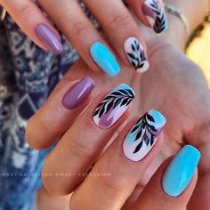 Blue Coffin Nails With Leaves ❤ 35+ Magnificent Coffin Nails Designs You Must Try ❤ See more ideas on our blog!! #naildesignsjournal #nails #nailart #naildesigns #nailshapes #coffins #coffinnails #coffinnailshapes
