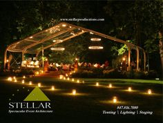 Beautiful Candle-lit Nighttime Tented Event  #tent  #wedding