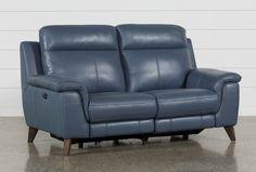 Blue Reclining Sofa Moana Blue Leather Dual Power Reclining Sofa With Usb Leather Reclining Loveseat, Leather Recliner, Leather Sectional, Blue Leather Couch, Leather Chairs, Black Leather, Loveseat Sofa Bed, Couches, Amigurumi