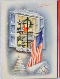 #1066 40s WWII Patriotic American Flag in Window Vintage Christmas Greeting Card
