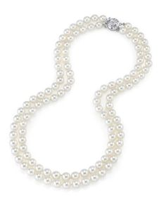 14K Gold 8.5-9.0mm Japanese Akoya White Cultured Double Strand Pearl Necklace - AAA Quality, 16-17', Women's, Size: 16