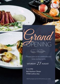 Invitation Template – Beautiful Design with Image and Fancy Fonts This modern grand opening invitation template features an attractive food image in the background that instantly activates your taste buds. Customize it for your own restaurant, cafe Free Invitation Maker, Printable Invitation Templates, Flyer Template, Grand Opening Invitations, Grand Opening Banner, Event Invitation Design, Business Invitation, Mermaid Invitations, Sweet 16 Invitations