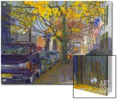 Watercolor Painting of a Neighborhood Street Scene Art on Acrylic by Steve Singer at Art.com