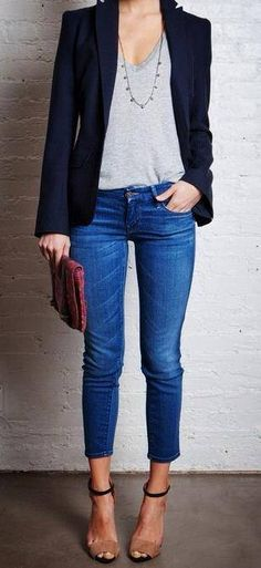 heels blazer jeans casual work outfit idea # dressy Casual Outfits with heels The Most Fab Office Attire Outfit Ideas with Jeans Casual Work Outfits, Mode Outfits, Work Casual, Casual Chic, Casual Looks, Chic Outfits, Casual Work Clothes, Summer Outfits, Classy Chic