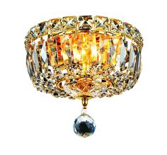 Tranquil 2 Light Crystal (Clear) Flush Mount in Gold Finish 2528F8G/RC