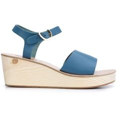 Ancient Greek Sandals 'Thalpori' Wedge Sandals ($335) ❤ liked on Polyvore featuring shoes, sandals, blue, ancient greek sandals, platform wedge sandals, wedges shoes, wedge heel shoes and blue platform shoes