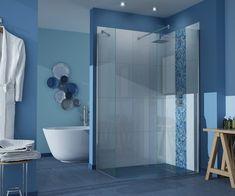 stylish bathroom ideas blue color scheme curbless shower glass partition walls
