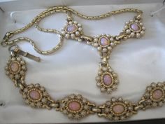 Glass  Fire Opal Necklace Bracelet Set by VintagObsessions on Etsy, $45.00
