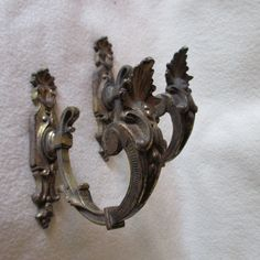 Pair Antique French Curtain, Drapery Tiebacks, Architectural Hooks