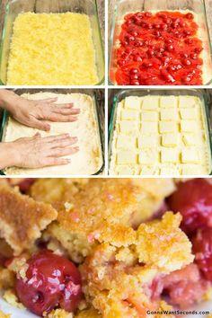Cherry Pineapple Dump Cake Caramel Apple Dump Cake, Apple Dump Cakes, Dump Cake Recipes, Frosting Recipes, Pie Recipes, Köstliche Desserts, Dessert Recipes, Quick Dessert, Easy Potluck Recipes