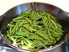 Pan fried green beans.  Very yummy and even better in a cast iron pan.