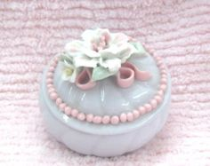 Vintage Ceramic White Big Pink 3-D Raised Roses Lidded Jewelry Box Trinket Pink Dots Trim Ornate Victorian Shabby Cottage Chic Romantic - Edit Listing - Etsy
