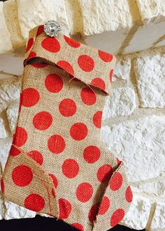 Red polka doted burlap stocking! by chicy0712. Explore more products on http://chicy0712.etsy.com