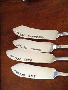 recycled silverware hand stamped cheese spreader, butter knifes. $45.95, via Etsy.