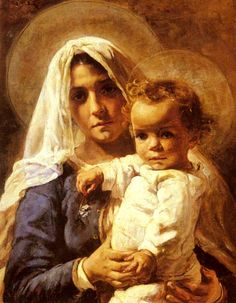 A Mother And Child - Elizabeth Nourse, Cincinnati, Ohio Rediscovered this wonderful artist at the Cincinnati Art Museum today. Her painting and story intrigue me. Mother Of Christ, Blessed Mother Mary, Divine Mother, Blessed Virgin Mary, Madonna Art, Madonna And Child, Catholic Art, Religious Art, Jesus E Maria