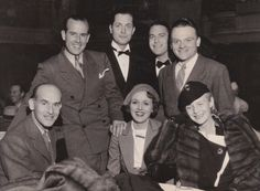 James Cagney preparing for the 1934 SAG Ball at the Biltmore Hotel with James Gleason, Gordon Wescott, Robert Montgomery, Chester Morris, Mary Astor, and Ann Harding