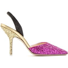 Attico Diletta tri-colour glitter pumps ($815) ❤ liked on Polyvore featuring shoes, pumps, heels, multi, glitter pumps, black pointed toe pumps, pointy-toe pumps, gold pumps and gold pointed toe pumps