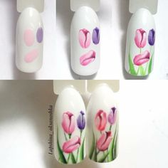 Try some of these designs and give your nails a quick makeover, gallery of unique nail art designs for any season. The best images and creative ideas for your nails. Nail Art Designs, Creative Nail Designs, Nail Designs Spring, Floral Nail Art, Nail Art Diy, Diy Nails, Manicure, Tulip Nails, Flower Nails