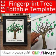 Fingerprint Tree - Editable Gift is free! Print out this fun tree to thank a volunteer or student teacher! Students add fingerprints to make the tree so meaningful! You will also like: The Senses with Mr. School Gifts, Student Gifts, Student Teacher, Fingerprint Tree, Staff Appreciation Gifts, Teaching Calendar, Thank You Teacher Gifts, Beginning Of The School Year, Free Prints