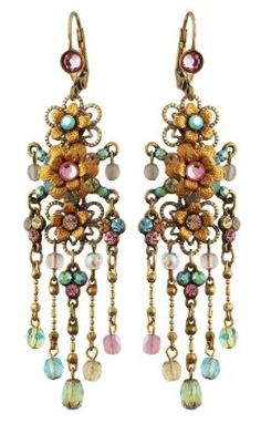 Michal Negrin Stunning Chandelier Earrings Embellished with 3 Hand Painted Flowers, Brass Ornaments, Beaded Dangle Chains, Pink and Blue Swarovski Crystals: Michal Negrin: Jewelry