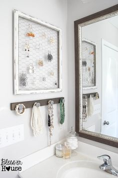Bless'er House | DIY Rustic Industrial Jewelry Organizer - Cheap, easy, functional, and pretty!