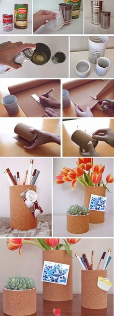 How Make a can into a pin board you can use to hold any pencils pens flowers or anything you wish Love crafting do it yourself :)