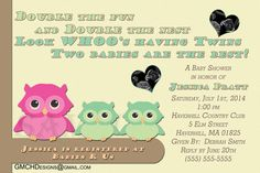 Cute TWINS Owl Baby Shower Personalized Invitations by GMCHDesigns, $9.99