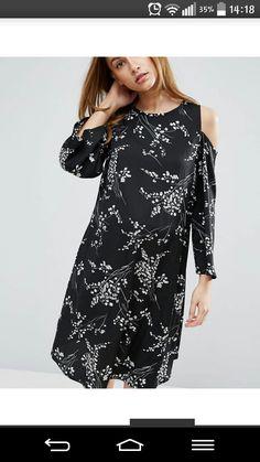 Чёрное платье длины миди для беременных с цветочным принтом и с вырезами на плечах