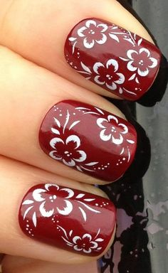 Buyinhouse Fashion Deign Nail Art Wrap Water Transfer Decals White Hibiscus Flower and Leaves (nail art water decals, stickers and tattoos, creative red nails ideas, floral design inspiration) Hibiscus Nail Art, Flower Nail Art, White Hibiscus, Flower Diy, Beautiful Nail Designs, Cute Nail Designs, Nail Decals, Nail Stickers, Red Nails