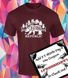 California Republic!!! Oso con bosque de fondo!!! Playeras estilo retro!!! de ArteImMrAmA en Etsy