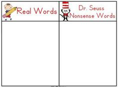 """Students use this mat & word cards to sort the words into real or """"Dr. Seuss"""" nonsense words."""